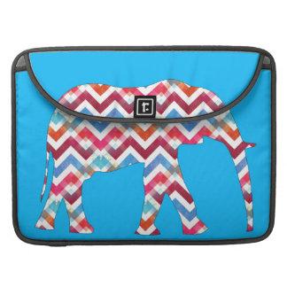 Funky Zigzag Chevron Elephant on Teal Blue Sleeve For MacBook Pro