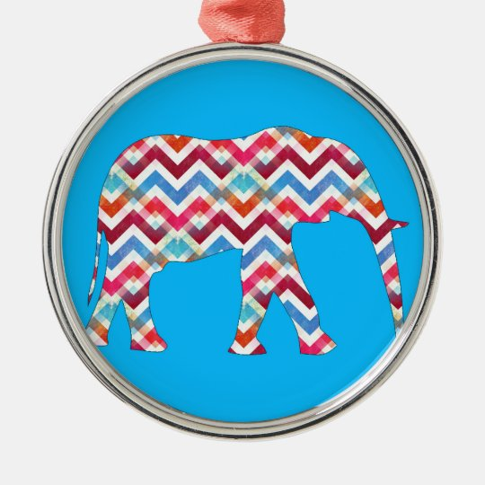 Funky Zigzag Chevron Elephant on Teal Blue Metal Ornament