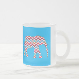 Funky Zigzag Chevron Elephant on Teal Blue 10 Oz Frosted Glass Coffee Mug