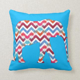 Funky Zigzag Chevron Elephant on Teal Blue Pillow