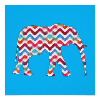 Funky Zigzag Chevron Elephant on Teal Blue Poster