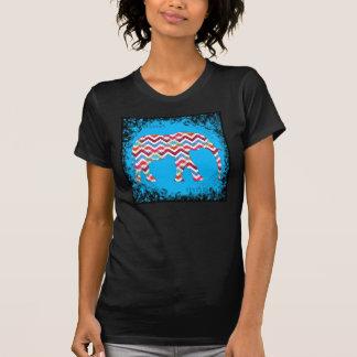 Funky Zigzag Chevron Elephant on Teal Blue Shirts