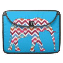 Funky Zigzag Chevron Elephant on Teal Blue Sleeve For MacBooks