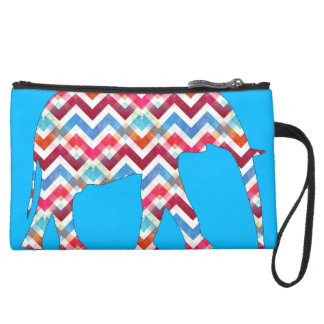 Funky Zigzag Chevron Elephant on Teal Blue Suede Wristlet Wallet