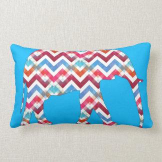 Funky Zigzag Chevron Elephant on Teal Blue Throw Pillow