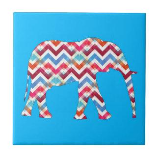 Funky Zigzag Chevron Elephant on Teal Blue Tile