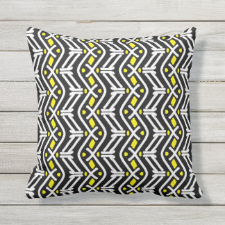 Funky Zigzag Chevron Pattern in Yellow and White Throw Pillow