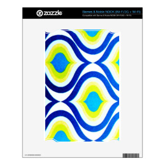 funkylicious yellow blue white retro hipster chic skins for the NOOK