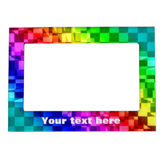 Funly punk checkerboard in raibow colors magnetic picture frame