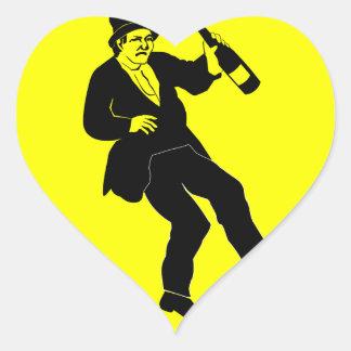 Funn Drunk Man Sign Heart Sticker
