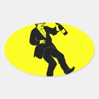 Funn Drunk Man Sign Oval Sticker
