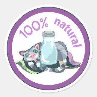 "Funny ""100% natural!"" sticker. classic round sticker"