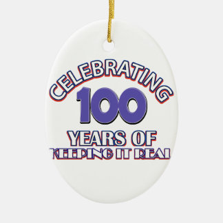 Funny 100th birthday designs Double-Sided oval ceramic christmas ornament