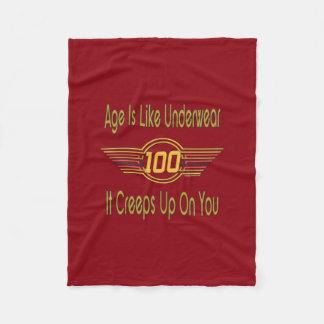 Funny 100th Birthday Gifts. Age is like underwear Fleece Blanket