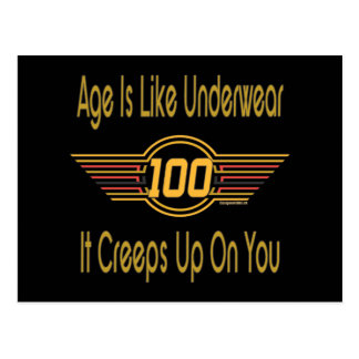 Funny 100th Birthday Gifts. Age is like underwear Postcard