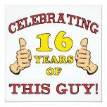 Funny 16th Birthday For Boys 5.25x5.25 Square Paper Invitation Card