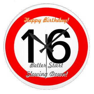 Funny 16th Birthday Joke 16 Road Sign Speed Limit Wall Clocks