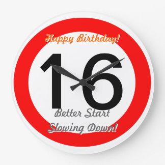 Funny 16th Birthday Joke 16 Road Sign Speed Limit Large Clock