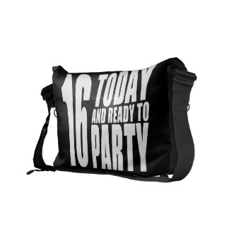 Funny 16th Birthdays : 16 Today and Ready to Party Messenger Bag