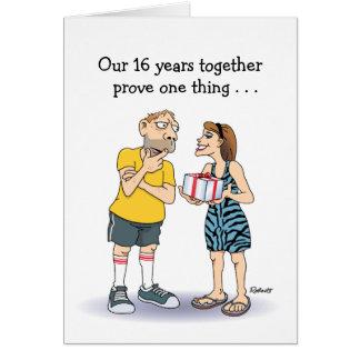funny 16th wedding anniversary love cartoon card