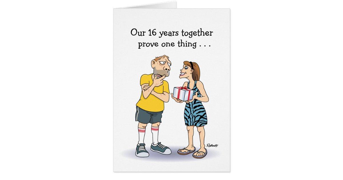 Funny 16th Wedding Anniversary Love Cartoon Greeting Card