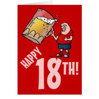 Funny 18th Birthday Card with Cartoon of Huge Beer Greeting Card
