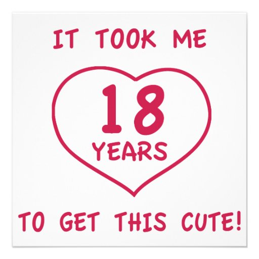 """Funny 18th Birthday Gifts (Heart) 5.25"""" Square Invitation"""