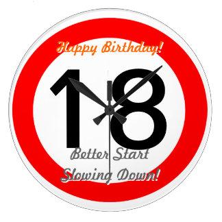 Funny 18th Birthday Joke 18 Road Sign Speed Limit Large Clock