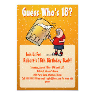 Funny 18th birthday invitations zazzle funny 18th birthday party invitation with big beer stopboris Gallery