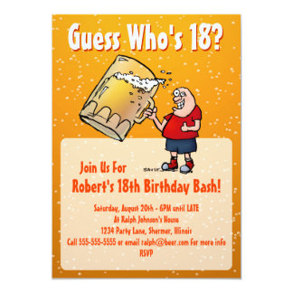 Funny 18th Birthday Party Invitation With Big Beer