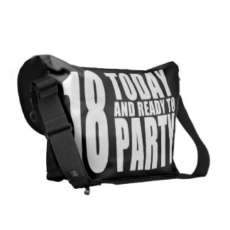 Funny 18th Birthdays : 18 Today and Ready to Party Messenger Bags