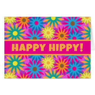 Funny 1960s Flower Power  Happy Hippy Birthday Card