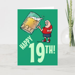 Funny 19th Birthday Card With Cartoon Of Huge Beer