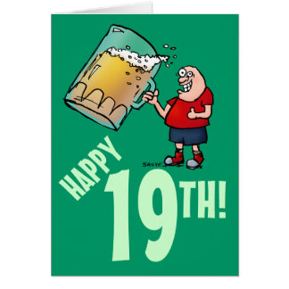 Funny 19th Birthday Card with Cartoon of Huge Beer Greeting Card