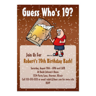 Funny 19th Birthday Party Invitation With Big Beer