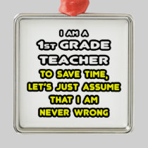 Funny 1st Grade Teacher T-Shirts and Gifts Christmas Tree Ornaments