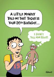 funny 20th birthday cards zazzle