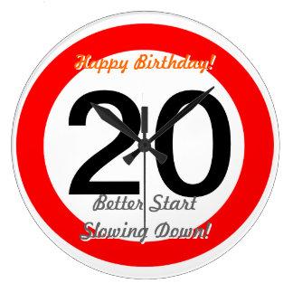 Funny 20th Birthday Joke 20 Road Sign Speed Limit Large Clock