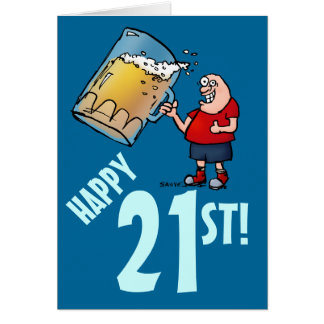 Funny 21st Birthday Card with Cartoon of Huge Beer Greeting Card