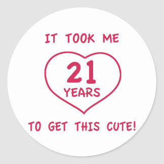 Funny 21st Birthday Gifts (Heart) Classic Round Sticker