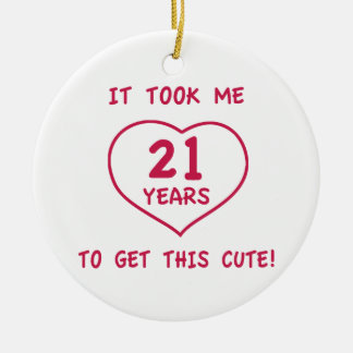 Funny 21st Birthday Gifts (Heart) Double-Sided Ceramic Round Christmas Ornament