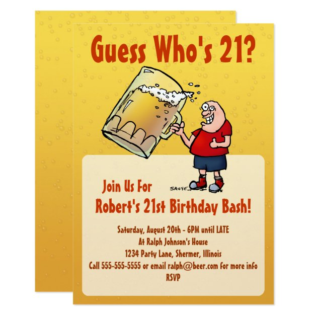 Funny 21st Birthday Party Invitation With Big Beer ...