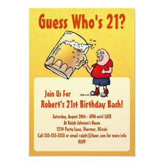 "Funny 21st Birthday Party Invitation With Big Beer 5"" X 7"" Invitation Card"