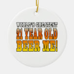 Funny 21st Birthdays : Worlds Greatest 21 Year Old Double-Sided Ceramic Round Christmas Ornament