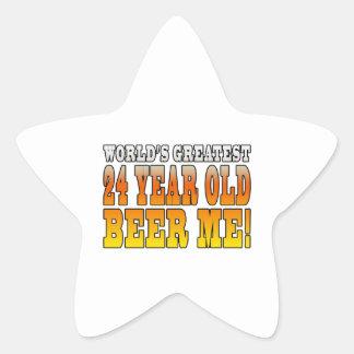 Funny 24th Birthdays : Worlds Greatest 24 Year Old Star Sticker