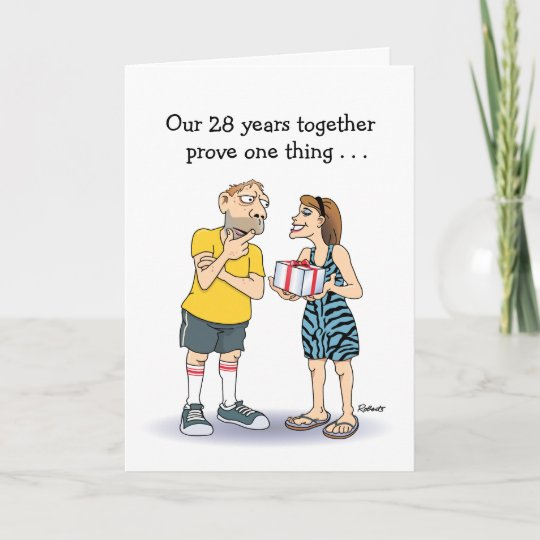 Funny Wedding Anniversary: Funny 28th Wedding Anniversary Card