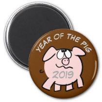 Funny 2 Cartoon Illustration Pig  Year 2019 Magnet