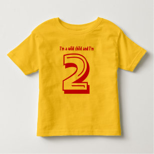 Funny 2nd Birthday Wild Child 2 Year Old Toddler T Shirt