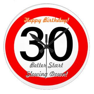 Funny 30th Birthday Joke 30 Road Sign Speed Limit Large Clock