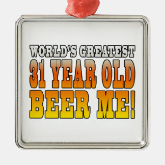 Funny 31st Birthdays : Worlds Greatest 31 Year Old Square Metal Christmas Ornament